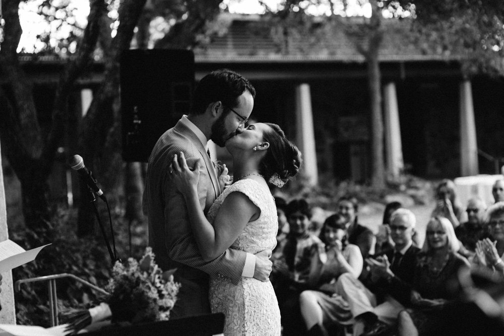 first kiss at wildflower center wedding