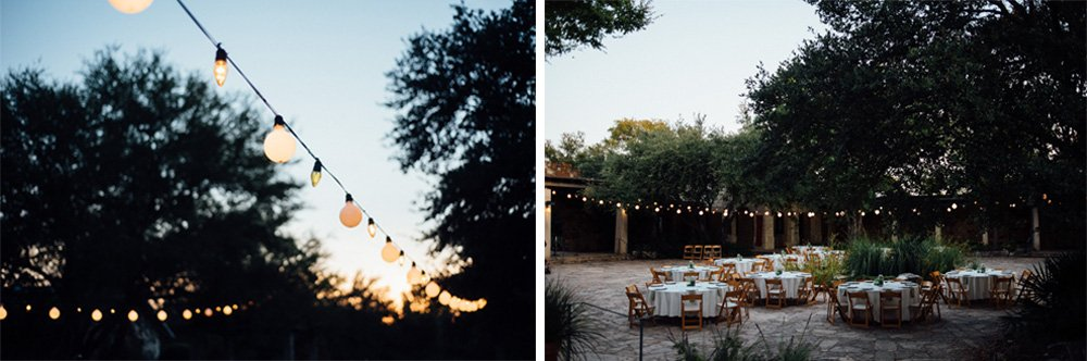 italian string lights at outdoor weddings in austin, lighting ideas for outdoor weddings, intimate wedding ideas for wildflower center weddings in austin