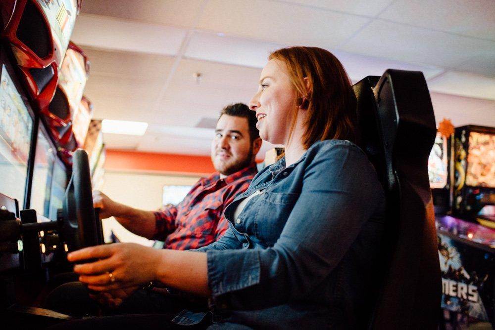 arcade engagement session in austin, unique engagement session ideas