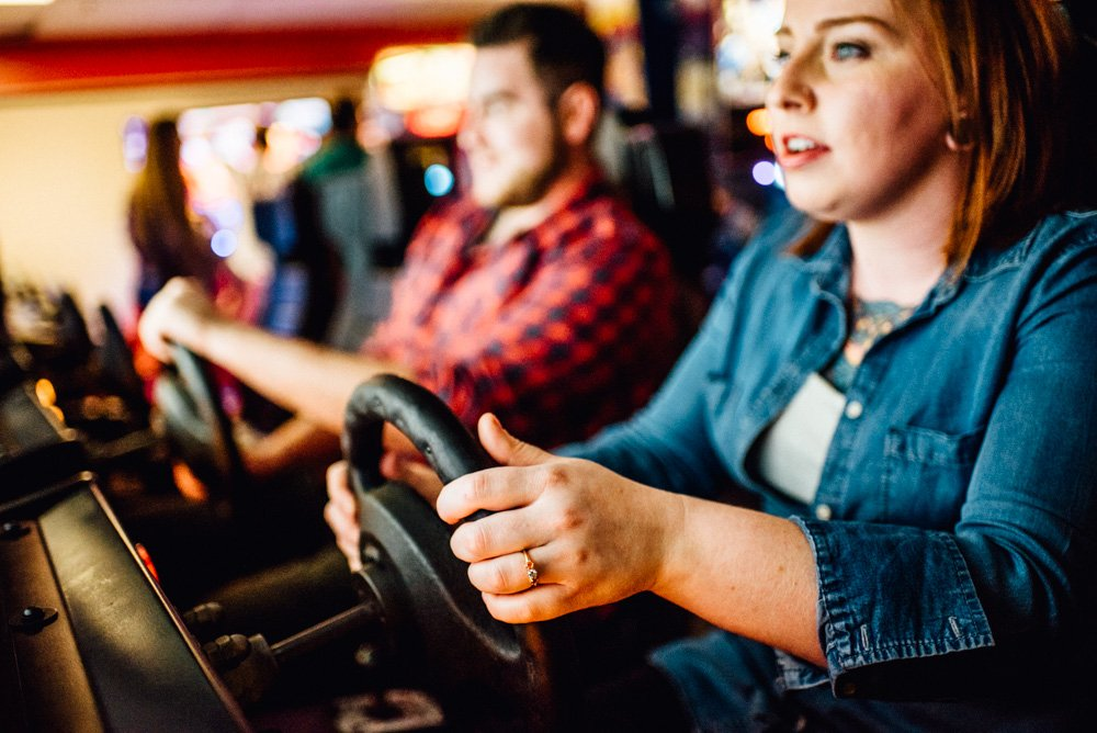 unique arcade engagement session ideas for creative couples in fort worth texas