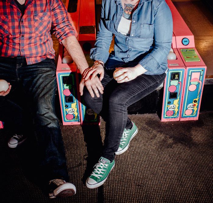 Creative Pinballz arcade engagement session | Audrey & Alex