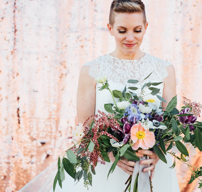 Bohemian rose gold and navy styled shoot | Barr Mansion