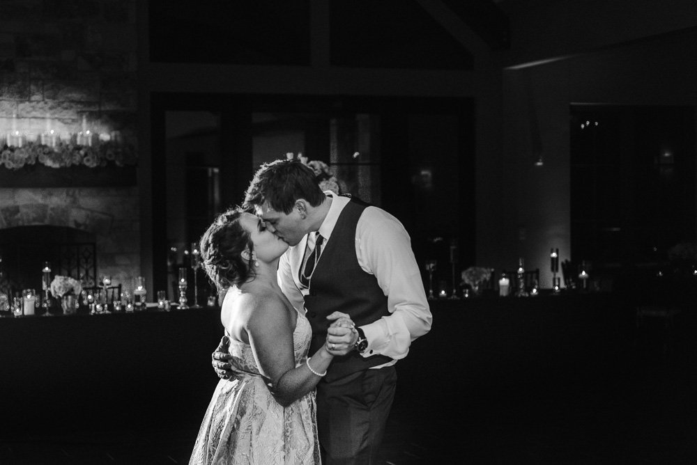 final dance black and white photograph of bride and groom