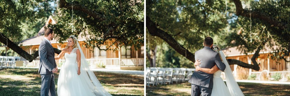 first look at pine lake ranch, bride and groom first look at rustic houston wedding