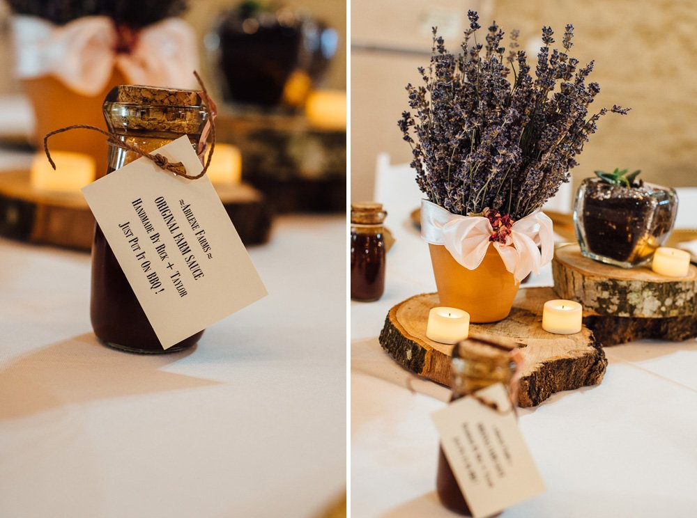 dried lavender and honey centerpieces, conroe wedding photography, rustic wedding, country wedding in the woodlands, DIY wedding ideas