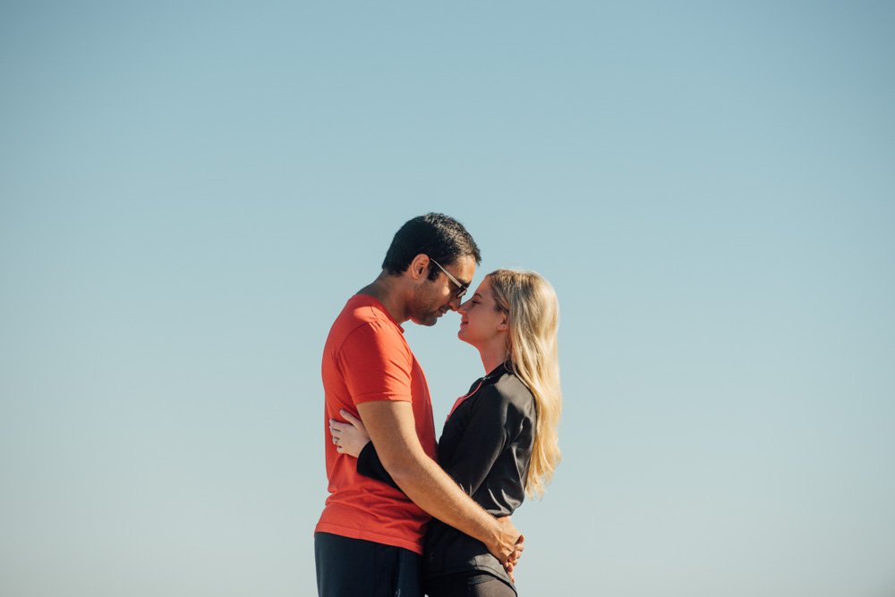 engagement photos on top of enchanted rock at sunrise