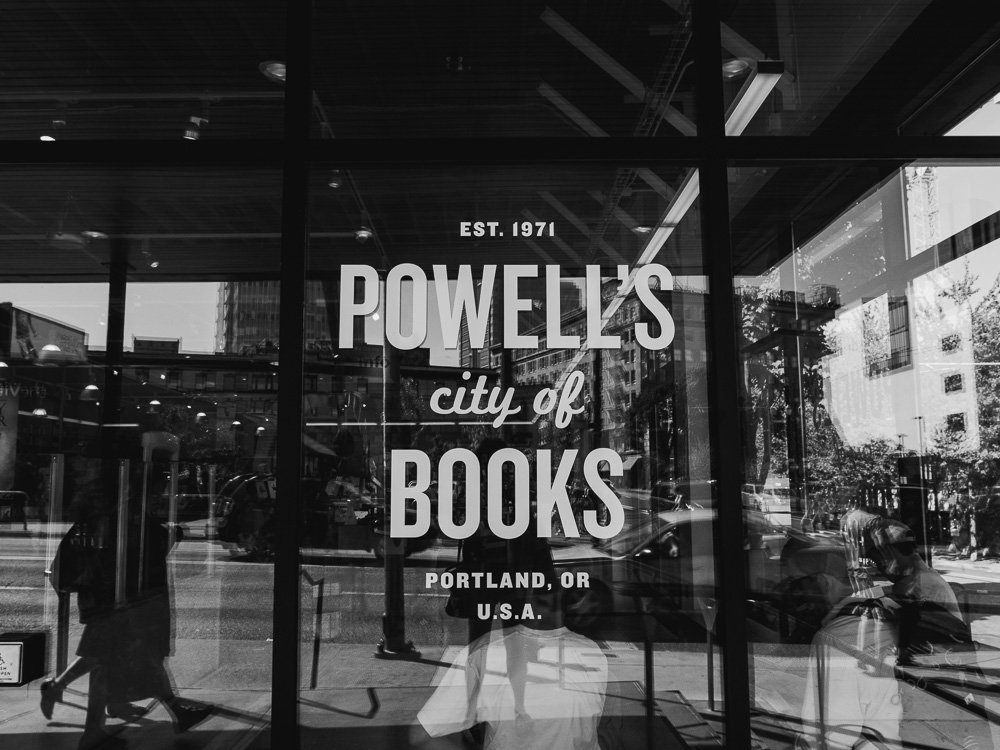 portland travel photography at power's city of books, portland photographer, black and white photos of downtown portland, photojournalistic view of downtown portland