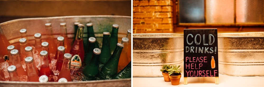 colorful soda bar at an industrial indoor wedding in dallas