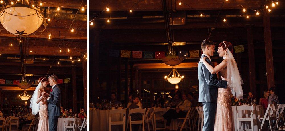 warehouse wedding first dance, bride in pink wedding dress, urban wedding in dallas