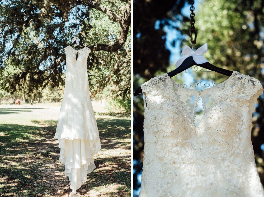 wedding dress hanging from tree at a fall wedding in san antonio