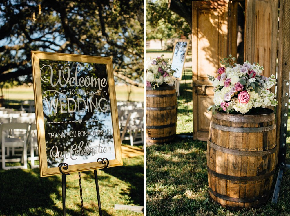 flower shack blooms and a hand calligraphic wedding sign at a rustic glam san antonio wedding