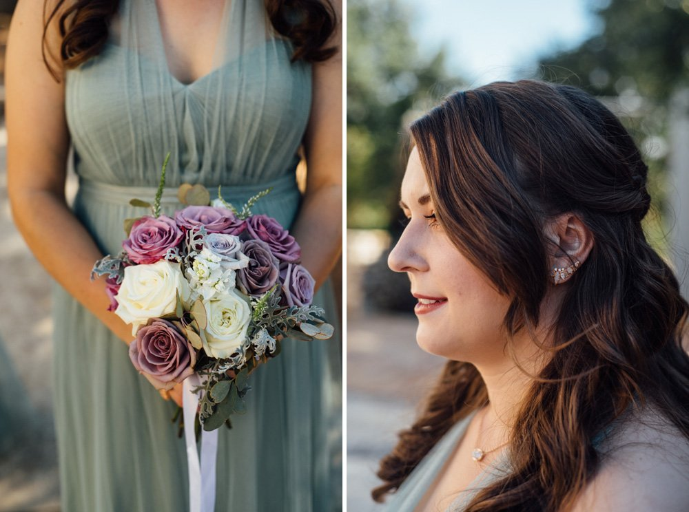 romantic wedding details on bridesmaids at a fall wedding in san antonio, san antonio bridesmaids, kendra scott bridesmaids earrings