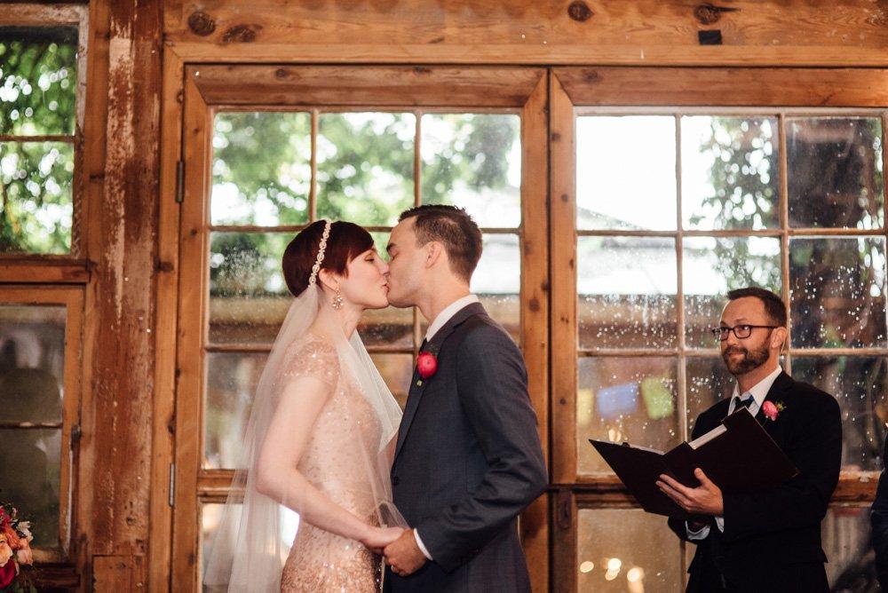 indoor wedding at the mckinney cotton mill, summer wedding with bride wearing jenny packham, pink wedding dress, short hair bride