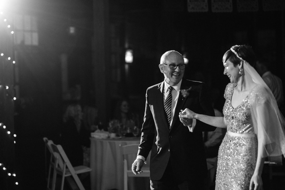 emotional father daughter dance at a mckinney cotton mill wedding
