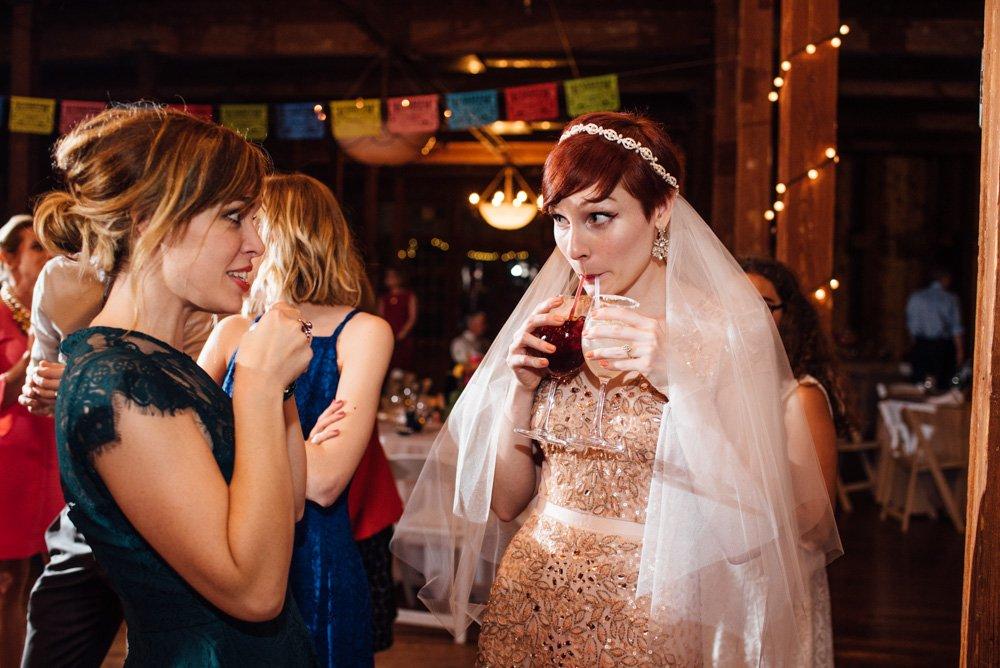 wedding photojournalism at the mckinney cotton mill, alternative dallas wedding photographers, short hair bride, reception at the mckinney cotton mill, Adrianna Papell wedding dress