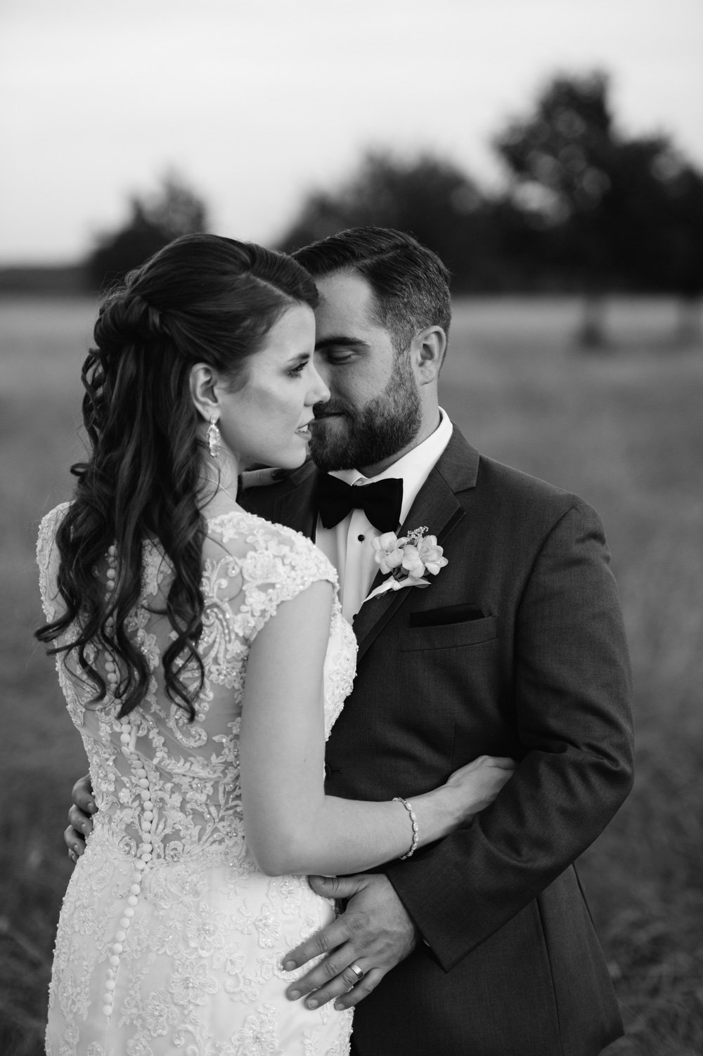 black and white bride and groom photographs, intimate portrait of bride and groom together, san antonio wedding photographer