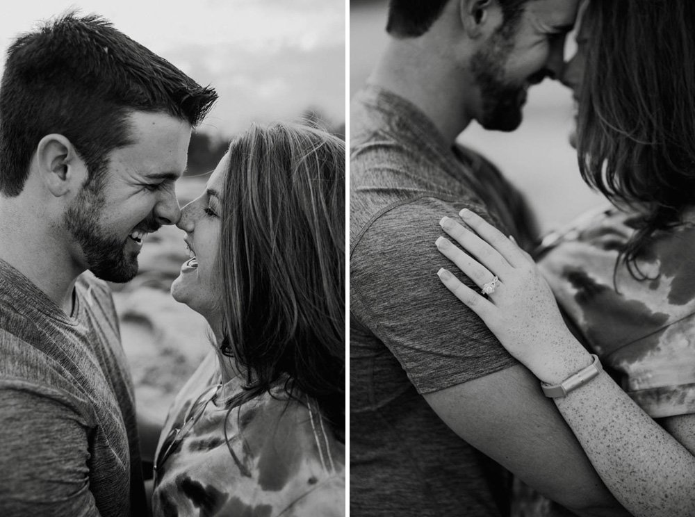 mckinney falls engagement session, professional austin proposal photography, creative engagement photographs, happy engaged couple, proposal photographs in austin texas, black and white engagement photography at mckinney falls