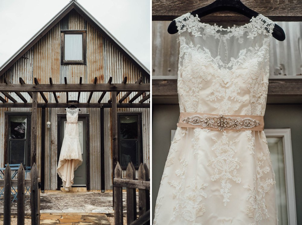 heritage house morning wedding, lace illusion dress hanging from doorway at heritage house, dripping springs wedding photographer