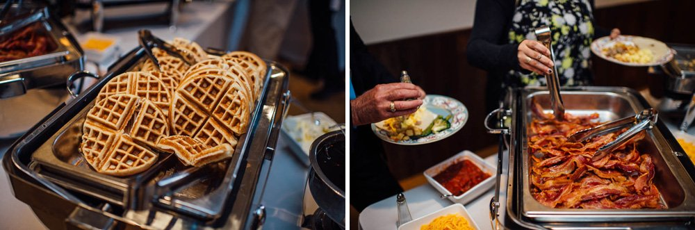 waffles and bacon brunch food at a wedding in austin, austin indie weddings, brunch wedding ideas, brunch wedding foods
