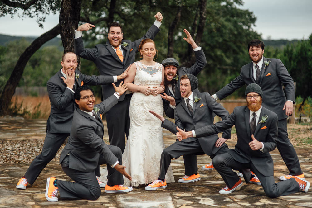 silly wedding party photography at austin wedding in dripping springs, heritage house final wedding, heritage house wedding photographs