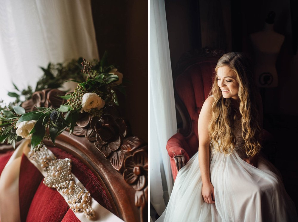 vintage wedding details at a boho wedding ceremony in the fall in north texas,