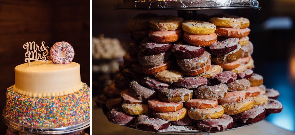 alternative cake ideas, donut cake at a wedding, wedding details after dark, classic oaks ranch wedding details, austin wedding photographer loves details