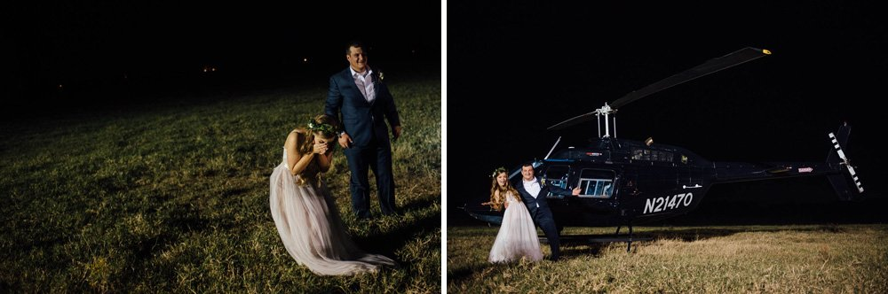 helicopter exit at classic oaks ranch, surprise wedding exit, pilot groom surprised bride, north texas wedding photographer