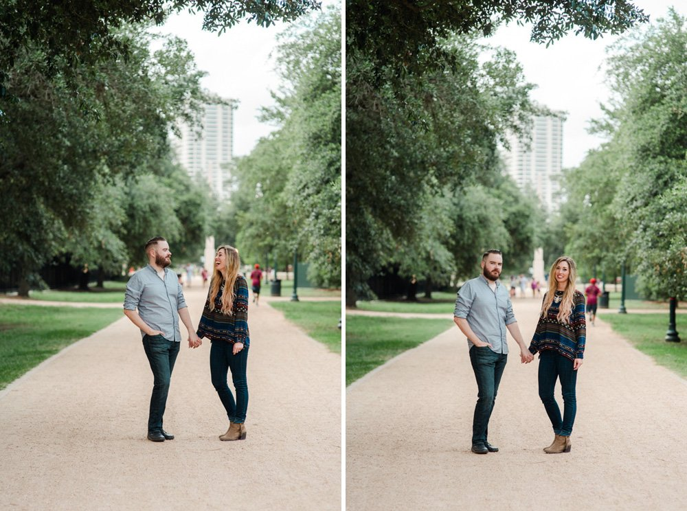 engagement session at hermann park in the spring, houston engagement session at hermann park, alternative couples session at hermann park