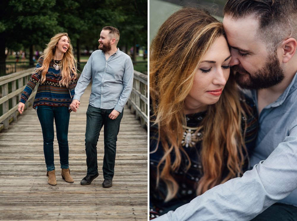 engagement session on the boardwalk at hermann park in houston