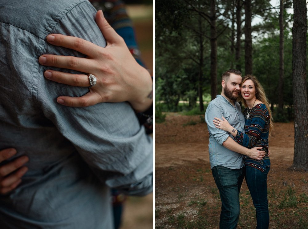 vintage engagement ring photos, tattoo and bearded engaged couple portraits in houston, creative houston engagement portraits, hermann park engagement photographs, creative couples portraits in houston