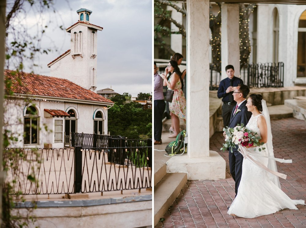 spring wedding outdoors at villa antonia in austin