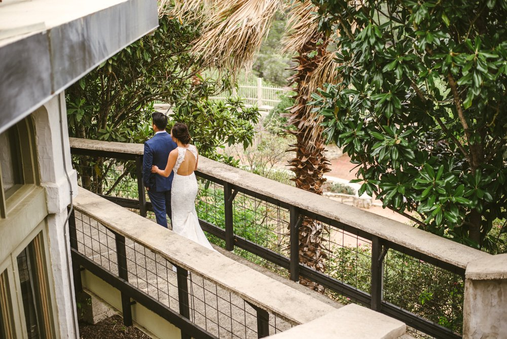 first look with a bride and groom at villa antonia in austin