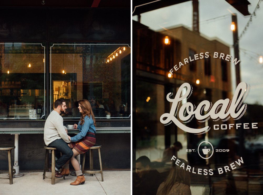 fall engagement session at local coffee in san antoino, texas