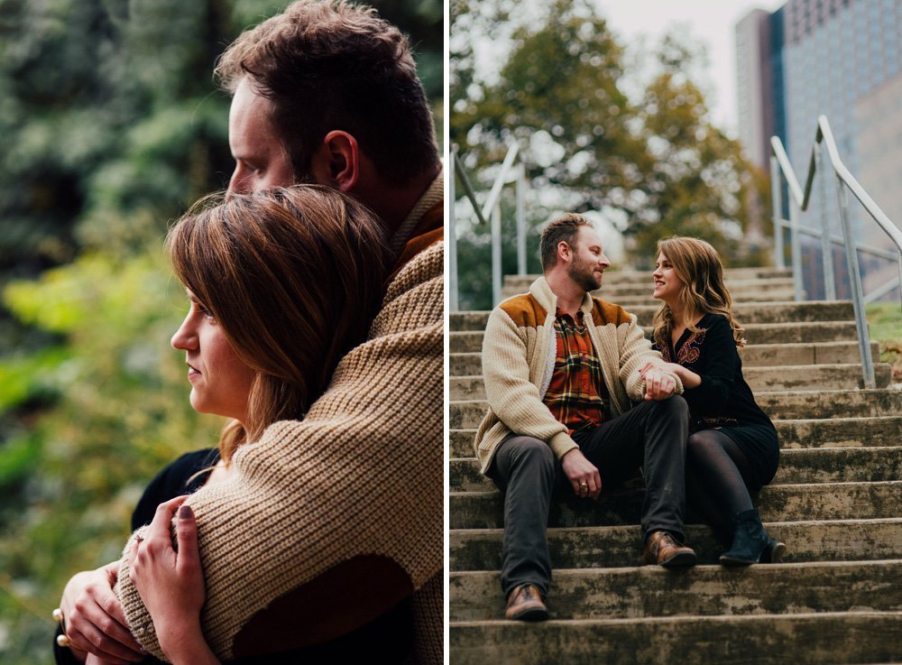 fall engagements in downtown austin, cool weather engagement outfits, what to wear for fall engagement photos in austin, winter engagement session outfits for texas