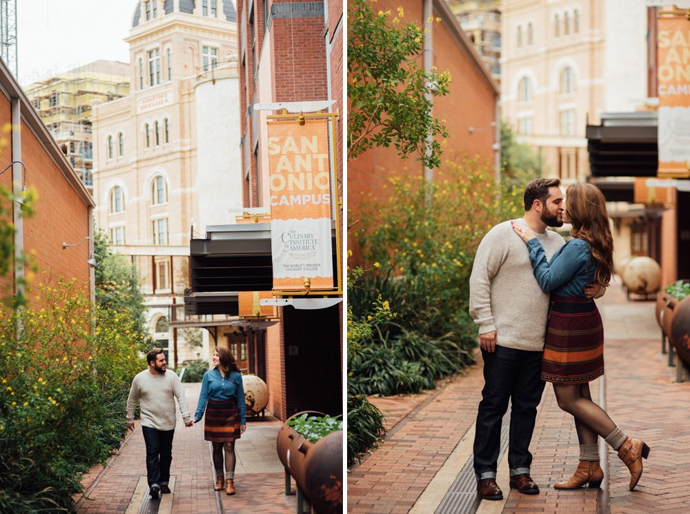 fall engagement session in downtown san antonio, historic pearl brewery engagements, hotel emma engagement session
