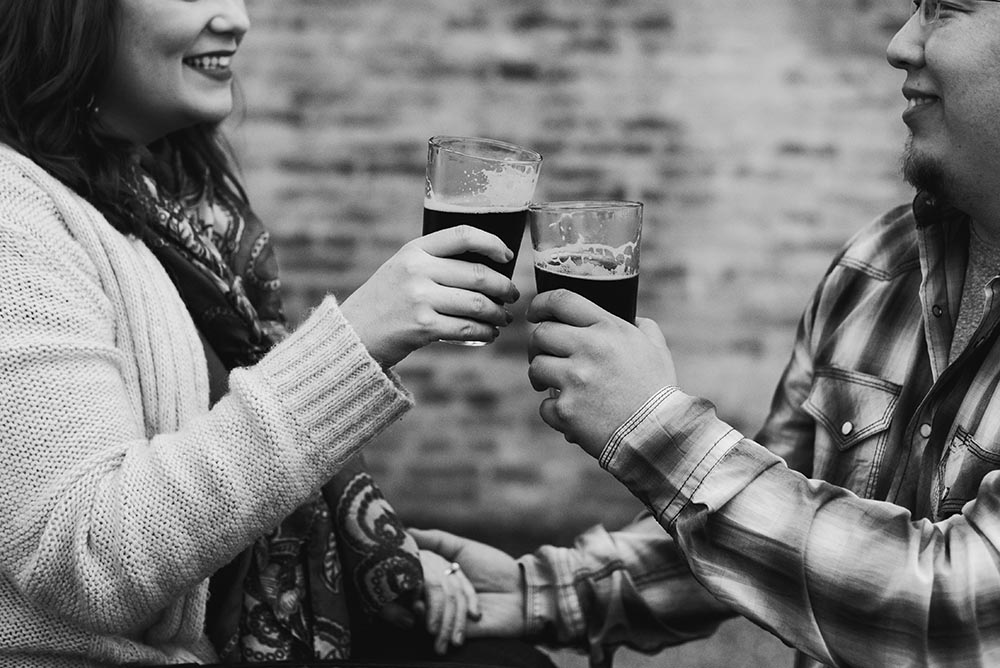 black and white engagement session at a brewery in cibolo texas, central texas engagement session, central texas engagement photographers