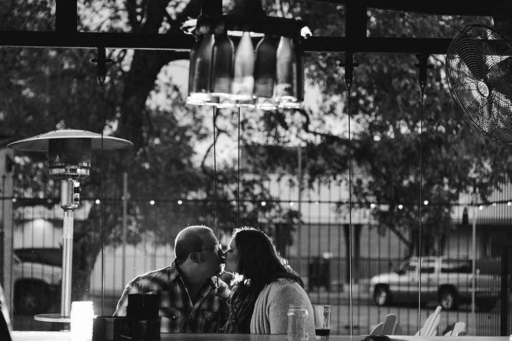 black and white portraits at a beer garden in old town cibolo