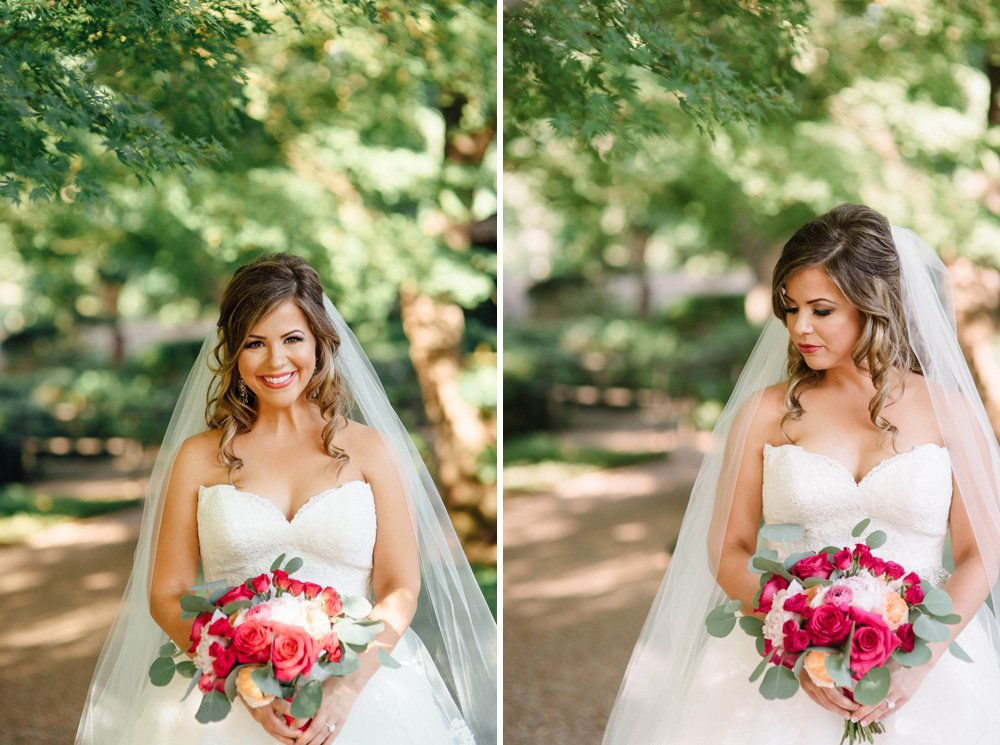 summer garden wedding bridal portrait inspiration, best place for bridal portraits in the summer in texas