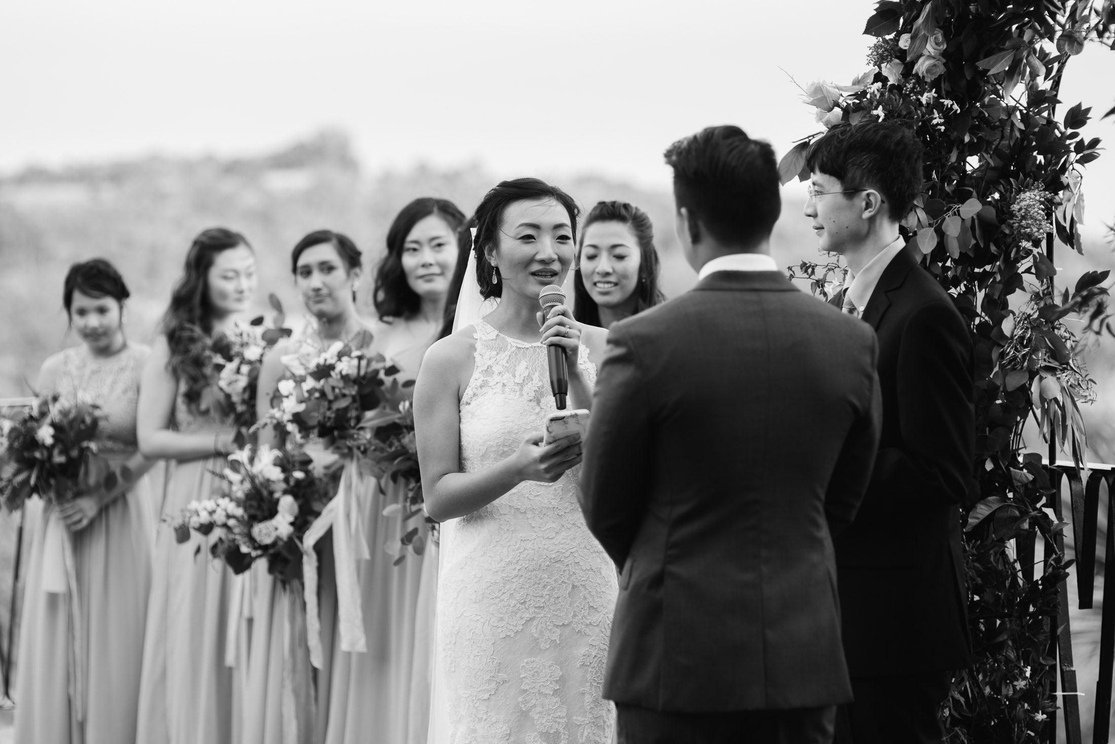 black and white wedding photography at villa antonia