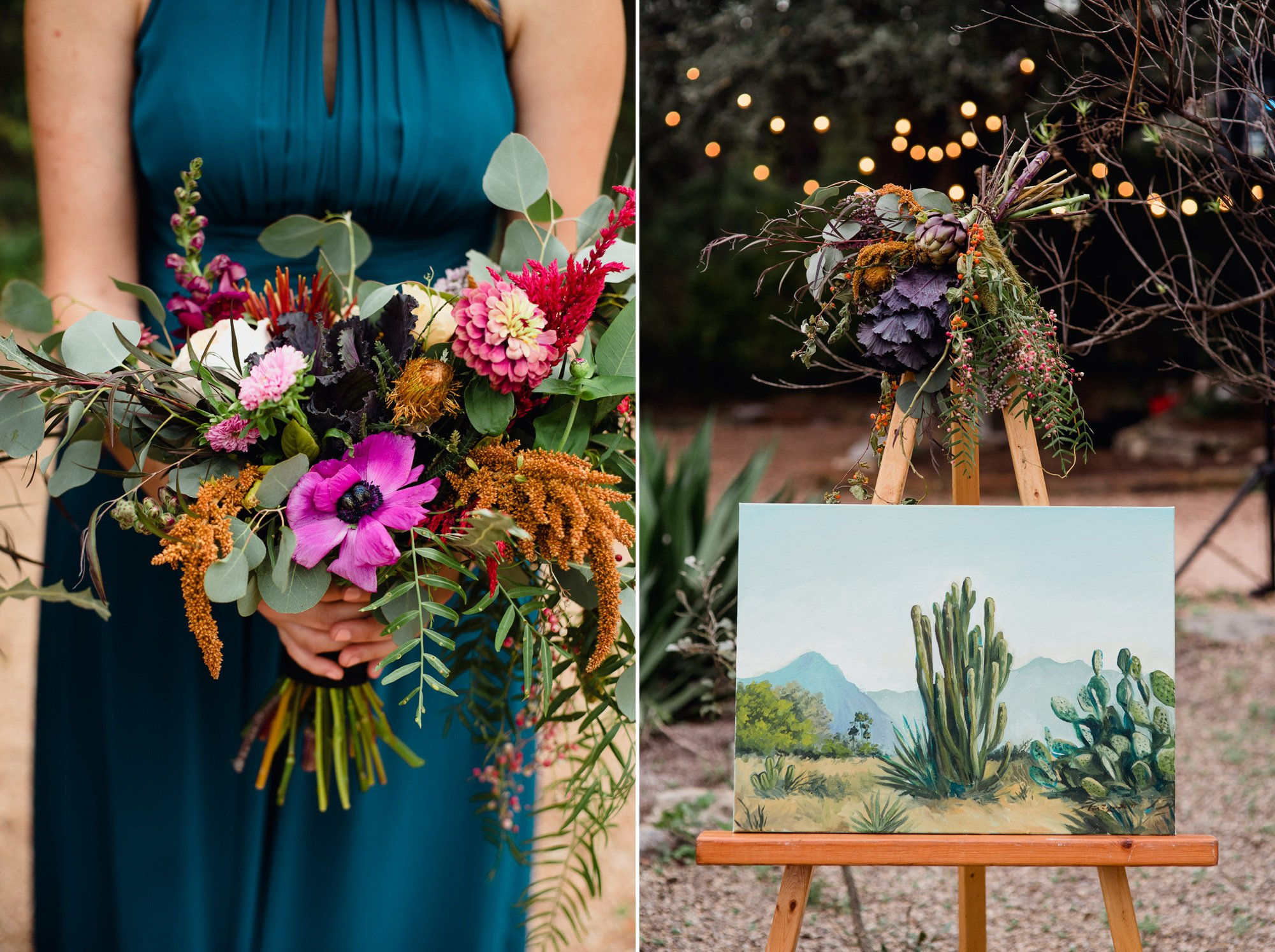 west texas inspired details of flowers and a painting at wedding at the greenhouse at driftwood, visual lyrics artistry florals