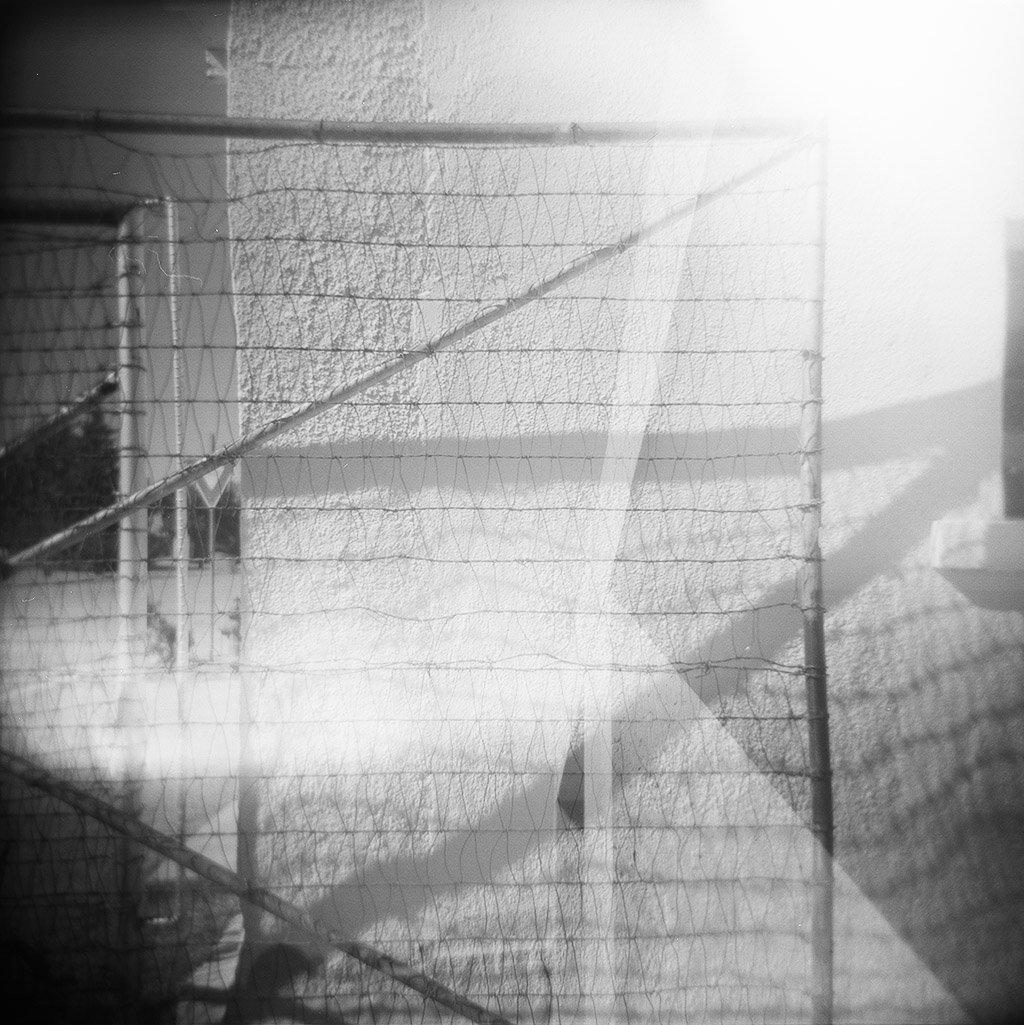 west texas fence black and white holga photograph