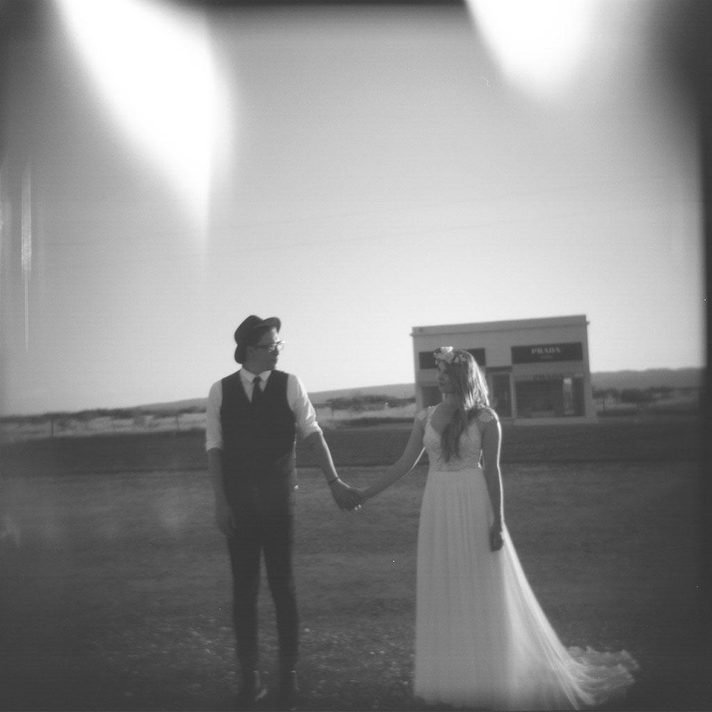 Holga wedding portraits outside prada marfa in west texas