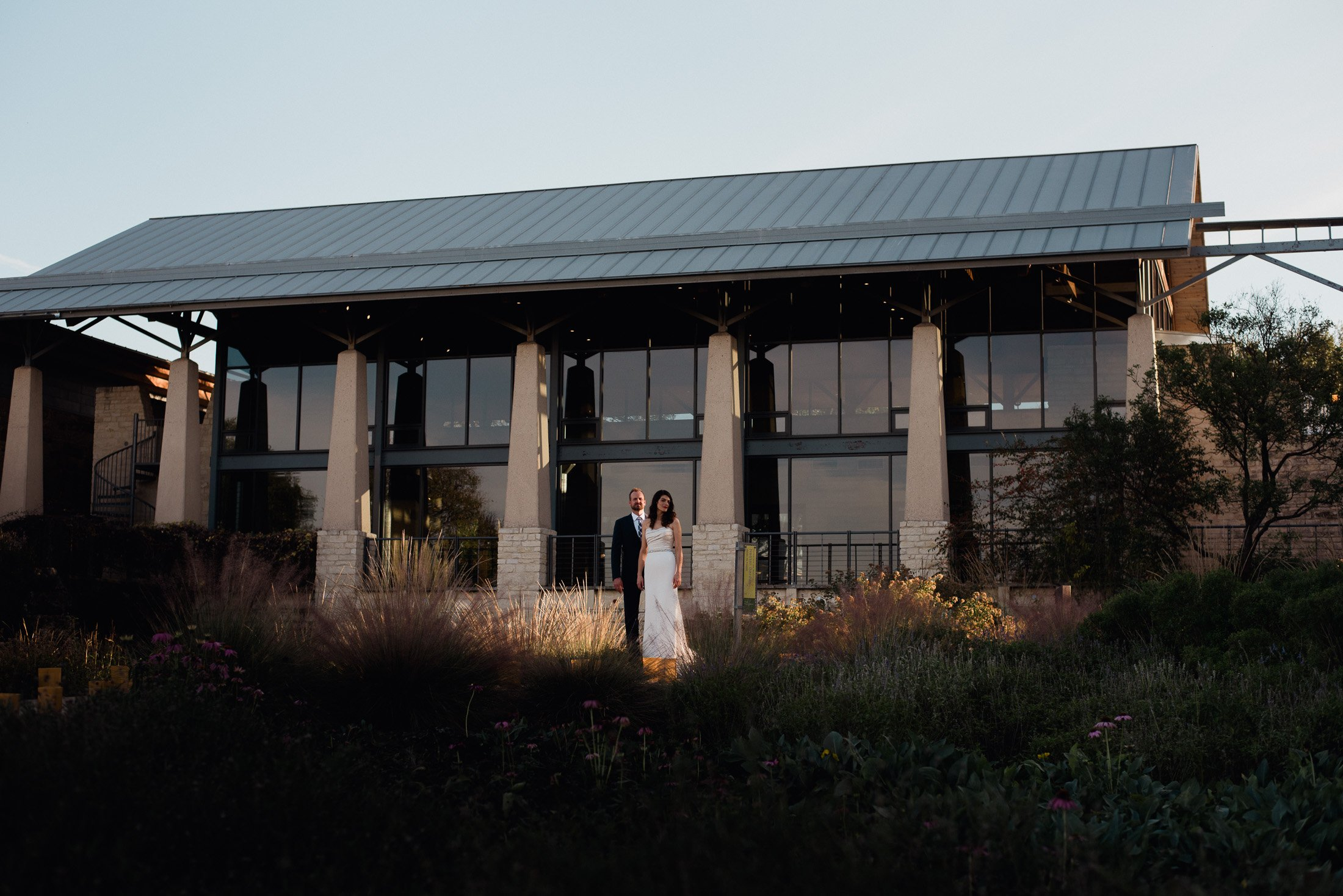 leah and dan at their wildflower center wedding in austin