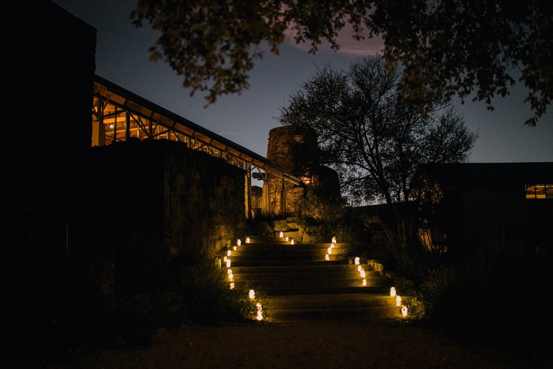 sunset wedding ceremony at the austin ladybird johnson wildflower center
