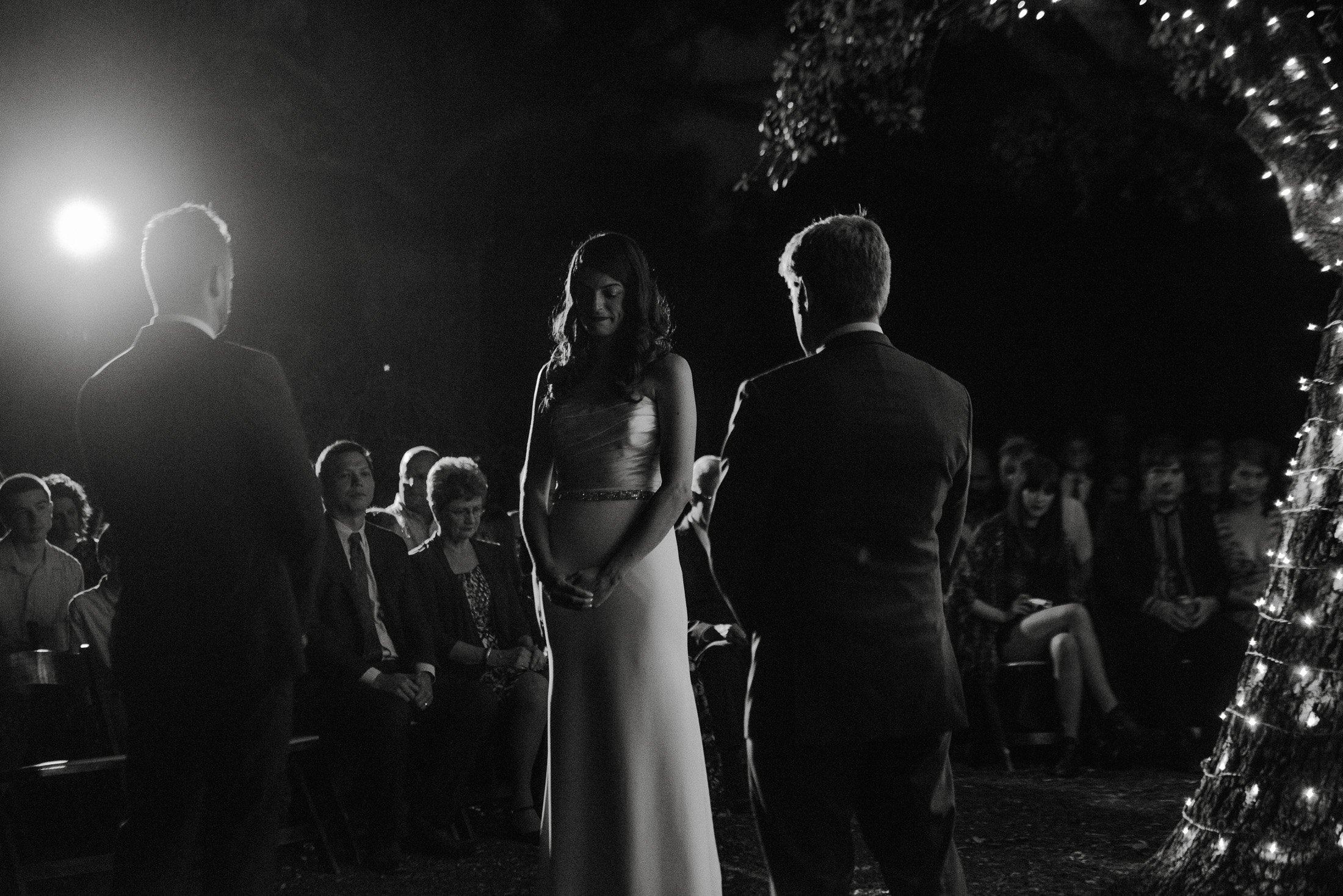 sunset wedding ceremony in black and white