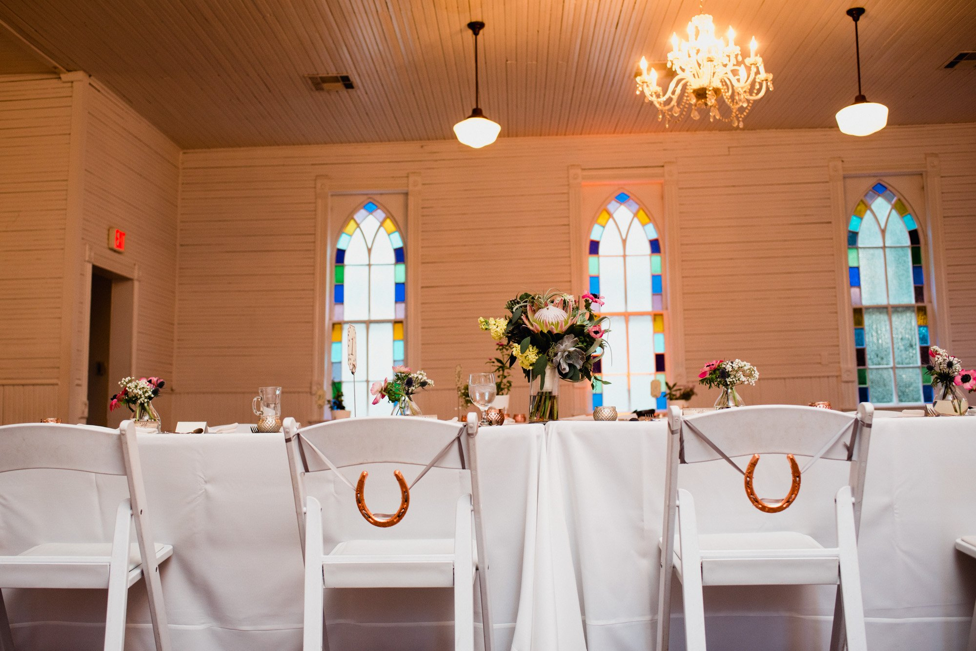 lucky horseshoes for the bride and groom at a mercury hall wedding reception