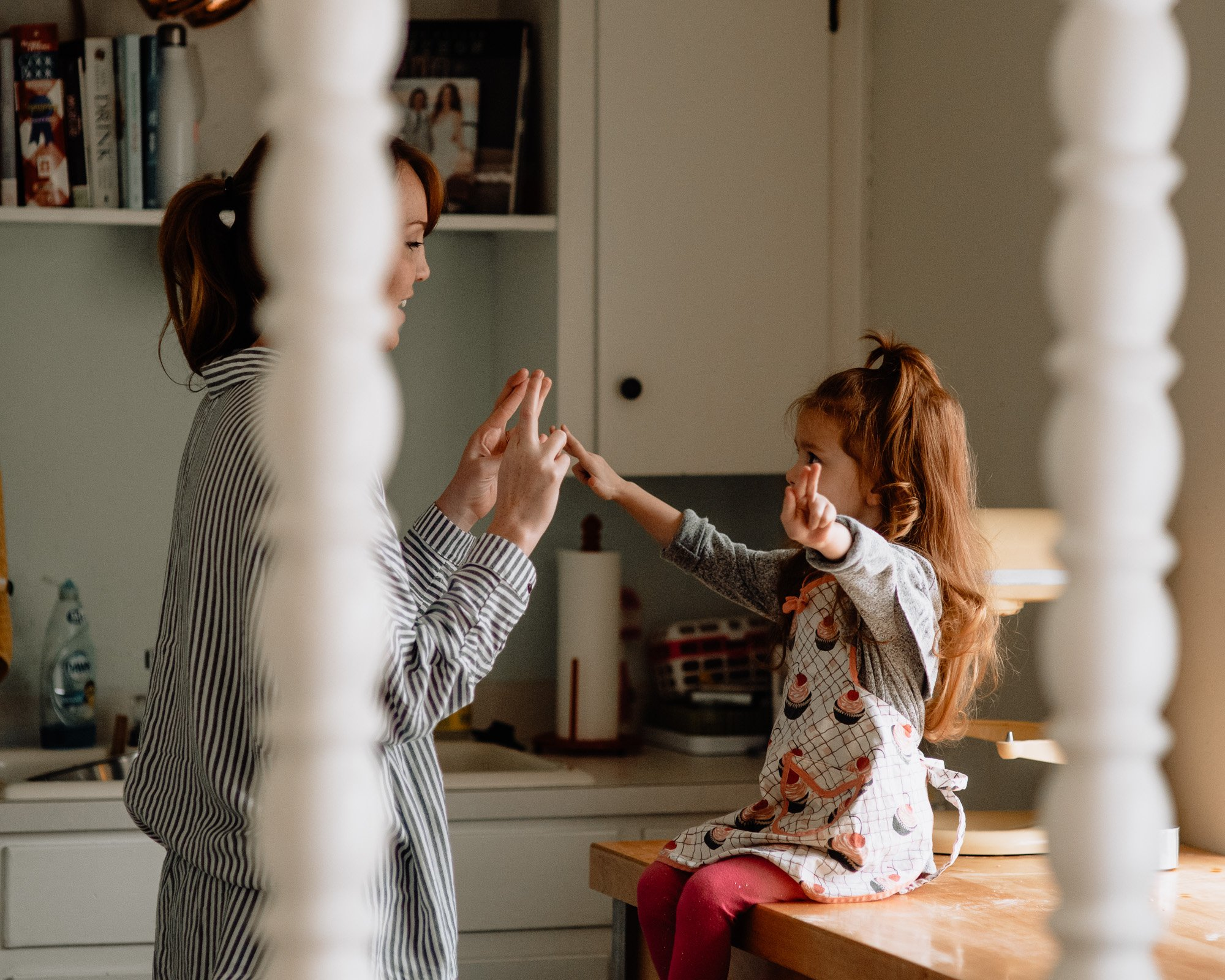 mommy and me session at home with redheaded kiddo