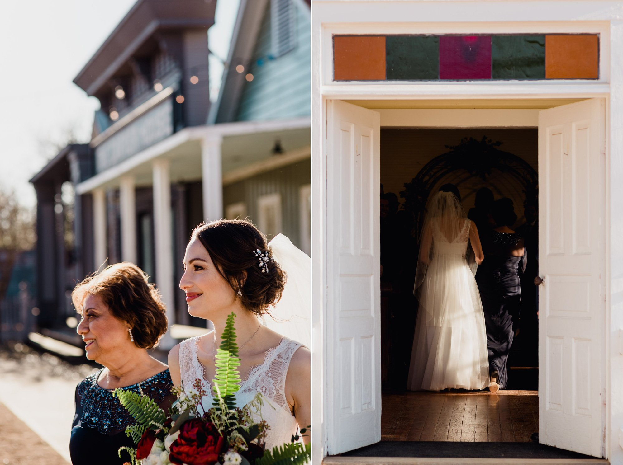 bride is escorted down the aisle by her mom at star hill ranch, behind the scenes wedding photography, candid and modern wedding photographs in austin texas, winter wedding at star hill ranch