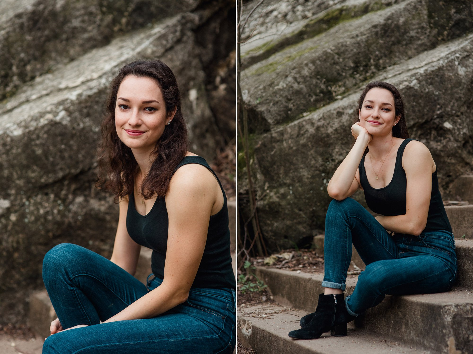 Austin editorial senior portraits outdoors.