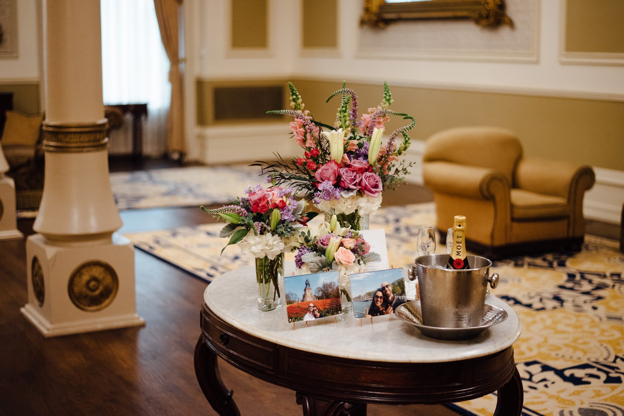 details set up for a surprise proposal at the driskill hotel in austin texas, how to propose in a austin texas, surprise proposal photographer
